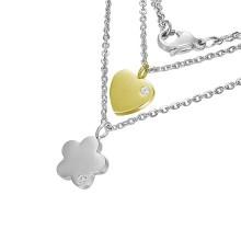 Collier acier chaine et pendentifs fleur et  coeur sertis