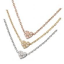 Collier acier chaine et petit coeur à pierres claires