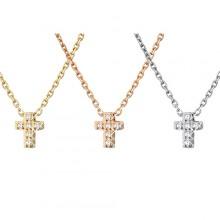 Collier acier chaine et petite croix à pierres claires
