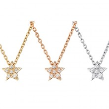 Collier acier chaine et petite étoile à pierres claires