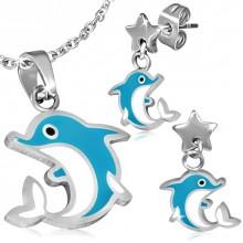 Parure pendentif et boucles d'oreilles à dauphin
