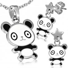 Parure pendentif et boucles d'oreilles à panda