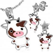Parure pendentif et boucles d'oreilles � vache