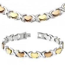Parure tricolore collier et bracelet acier à coeur