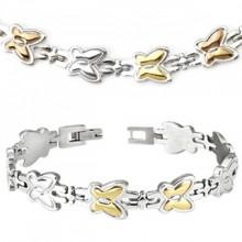 Parure tricolore collier et bracelet acier à papillons