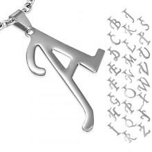 Pendentif femme acier initiale majuscule A à Z